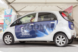 Peugeot Ion full electric car with Spanish power company Endesa logo on the side at a sustainable transport demo in Adeje