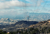Power transmission line and mountains of Alicante. Costa Blanca, Valencia. Spain