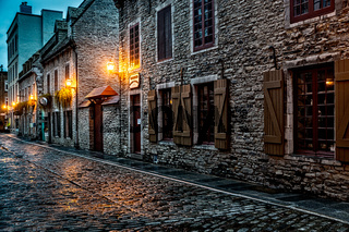 Old Town Quebec on a Rainy Night