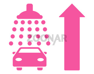 Car Shower Ahead Direction Flat Vector Illustration