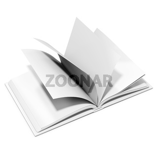 3d blank book with browsing pages