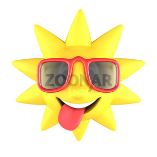Yellow sun with sunglasses on smiling