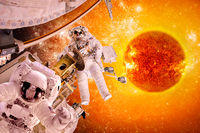 Spacecraft and astronauts in space on background sun star