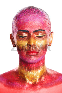 Glitter makeup on a beautiful woman face on a white background