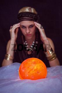 Fortune teller forecasting the future