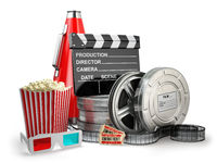 Video, movie, cinema vintage production concept. Film reels, cla