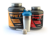 Sport nutrition, whey protein powder for bodybuilding with plastic jars and shaker isolated on white.