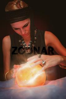 Composite image of fortune teller forecasting the future