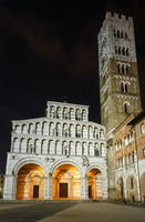 Lucca city night view.