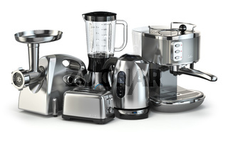 Metallic kitchen appliances. Blender, toaster, coffee machine, meat ginder and kettle isolated on white.