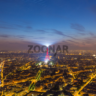 Eiffel Tower and Paris cityscape from above, France