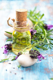 Essential oil and lavender.