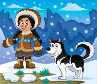Inuit girl with Husky dog - picture illustration.