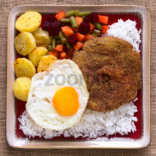 Traditional Bolivian Dish Called Silpancho