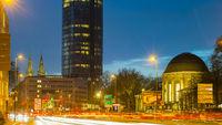 Opladener Strasse, LVR-Turm und Bahnhof Köln-Deutz, Köln, Nordrhein-Westfalen, Deutschland, Europa