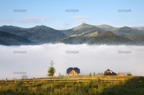 Sunny morning mountain rural landscape