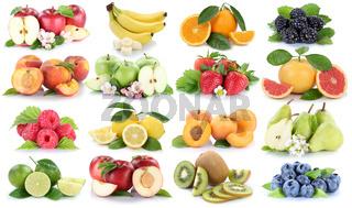 Früchte Apfel Orange Beeren Banane Orangen Erdbeere Obst Frucht Collage Freisteller freigestellt isoliert