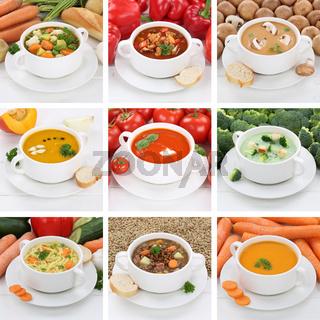 Collage Suppe Suppen gesunde Ernährung Tomatensuppe Gemüse Gemüsesuppe in Suppentasse