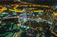 Address Hotel at night in the downtown Dubai area overlooks the