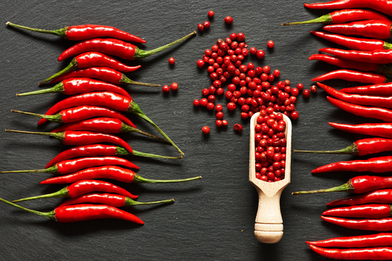 Red hot chili peppers and rose pepper