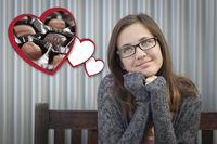 Daydreaming Girl Next To Floating Hearts with Chocolates