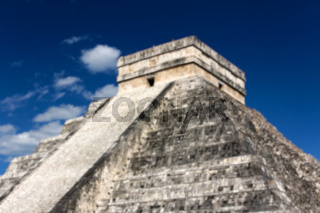 Blurred background of Mayan Pyramid to Kukulkan