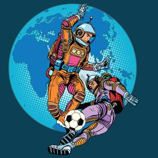 Football soccer match astronauts play