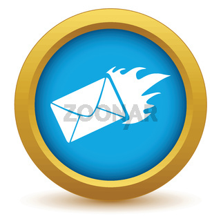 Gold hot letter icon