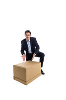 Business man with box in hand