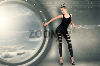 Young woman in futuristic interior