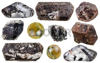 set of Tourmaline gemstones isolated