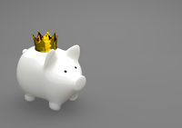 Porcelain Piggy Bank Golden Crown