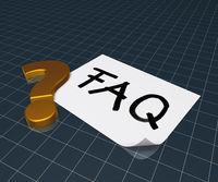das wort faq auf papierblatt and ein fragezeichen - 3d rendering