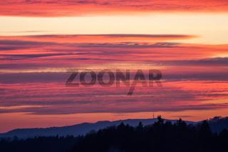 Dramatic sunset in Switzerland