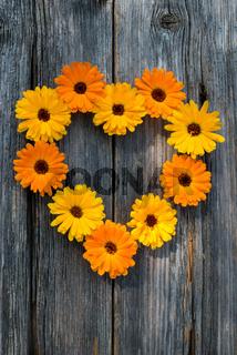 Herz aus Ringelblumen