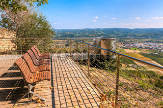 Benches on viewpoint in Italy.