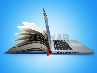 E-learning. Concept of education. Internet labrary. Book and Laptop.