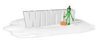 cartoonfigur mit schneeschieber und das wort winter - 3d illustration