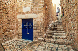 Stone walls and narrow streets of Jaffa, Israel.