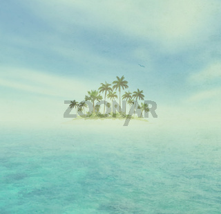Ocean And Tropical Island With Palms