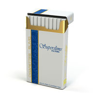 Pack of slim cigarettes on white isolated background.