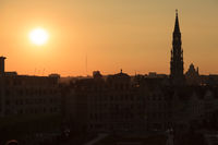 Cathedral and statue of king Albert I at sunset, Brussel