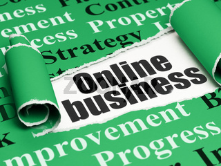Finance concept: black text Online Business under the piece of  torn paper