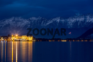 Lake Zell with Grand Hotel after sunset, Alps, Austria