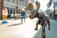 A bronze dog as fountain figure