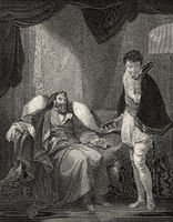 Henry IV, reproving Prince Henry, scene from King Henry IV part 2, act 4, scene 5, a history play by William Shakespeare