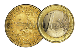 Euromünze und Dollarmünze