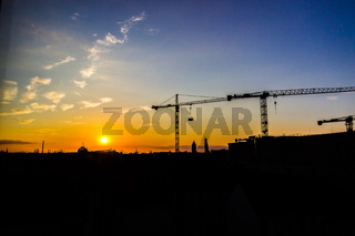 cranes on the construction site in Berlin