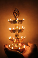 beautiful traditional indian lamp, festival concept