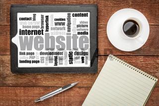 website word cloud on tablet